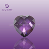Heart cut light purple flat cubic zirconia amethyst gemstone