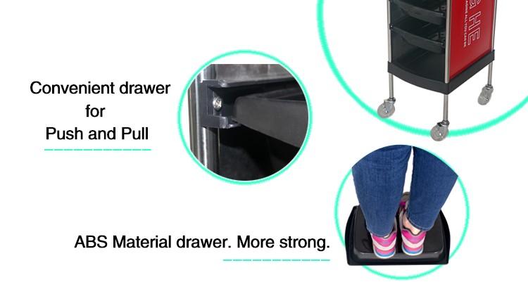 X11-6 Parrucchiere Trolley Bagagli Vassoio di Plastica Casa Nero Su Ordinazione Dei Capelli Del Barbiere di Bellezza di Stile Moderno