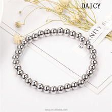 DAICY simple design women lucky diy beads stainless steel stretch bracelet