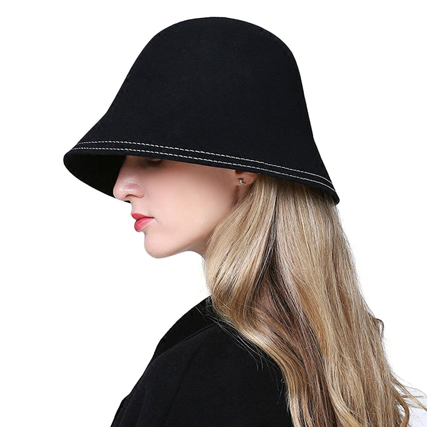 8dbec527707 Get Quotations · Zhou-hats store, Autumn Winter Fedora 100% Wool Hat for  Women Fashion Casual