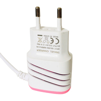 LED light Universal travel charger adapter mobile phone charger with V8 android micro USB cable