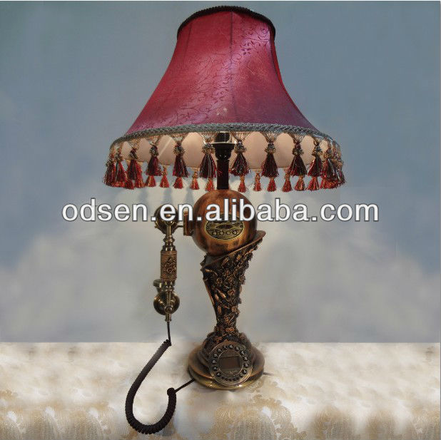 Fancy Table Lamp Red Cloth Lampshade Antique Table Light With ...