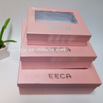 New fancy pink iridescent paper packaging box with clear PVC window