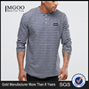 MGOO Custom Making Bulk Price Blue White Stripe T-shirt Buttons Up Long Sleeves Shirts Dress Men