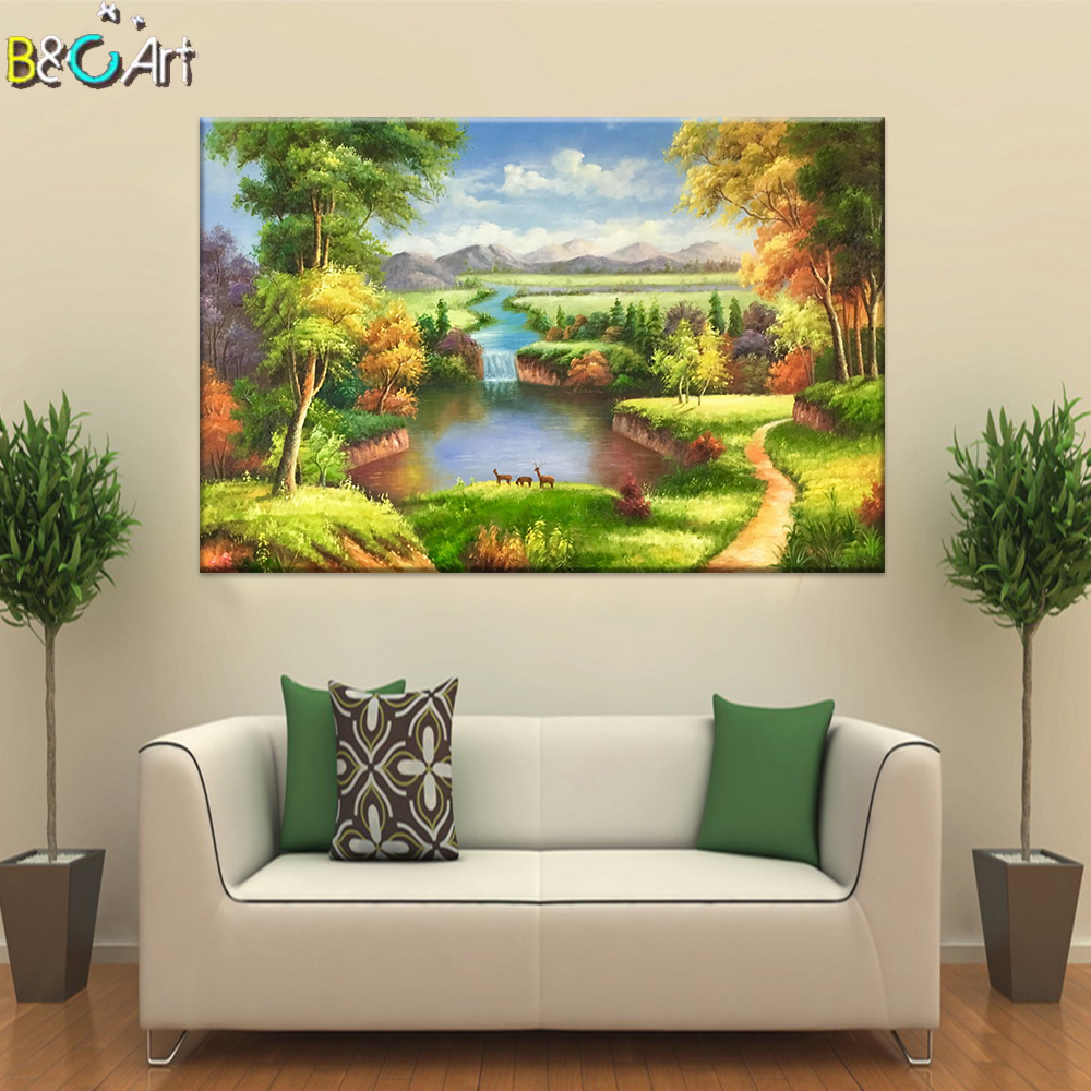 Amazon hot sale graceful art canvas nature mountain river oil paintings