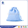 Personalized blue nylon mesh candy bag with drawstring
