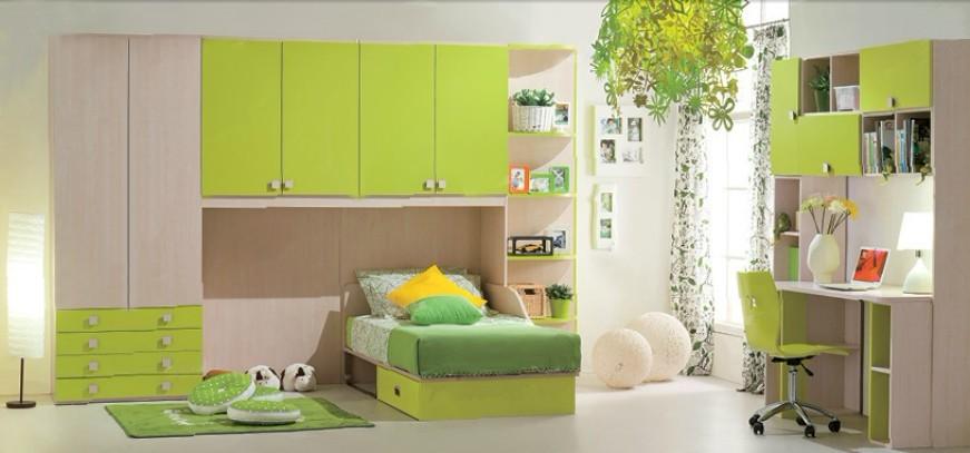 Estilo Colonial Niños Dormitorio Muebles Con Madera Y Verde Melamina ...