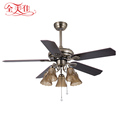 "Guzhen Lighting Market Classic Pull Rope 48"" Wood Blades 5 Blades 220V Dc Motor Ceiling Fan With Indoor Ceiling Lamp"