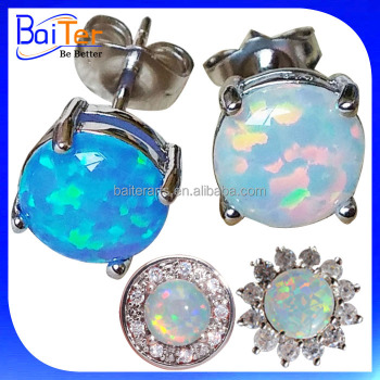 gold fire earrings stud opal colors multiple ball