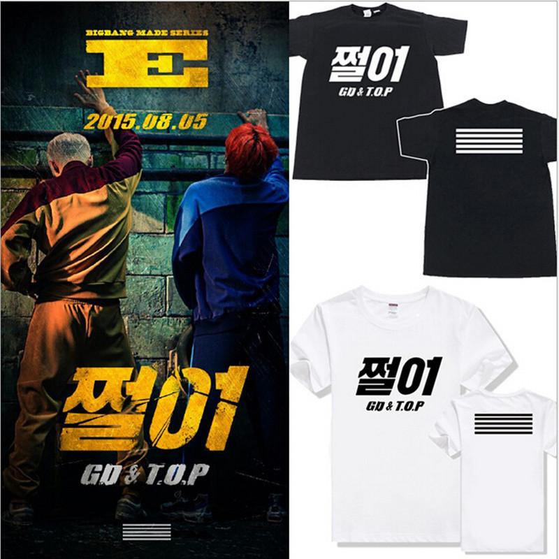 Kpop Bigbang сделано ZUTTER T - большого взрыва GD топ хлопок ти мужская поддержки вентилятор