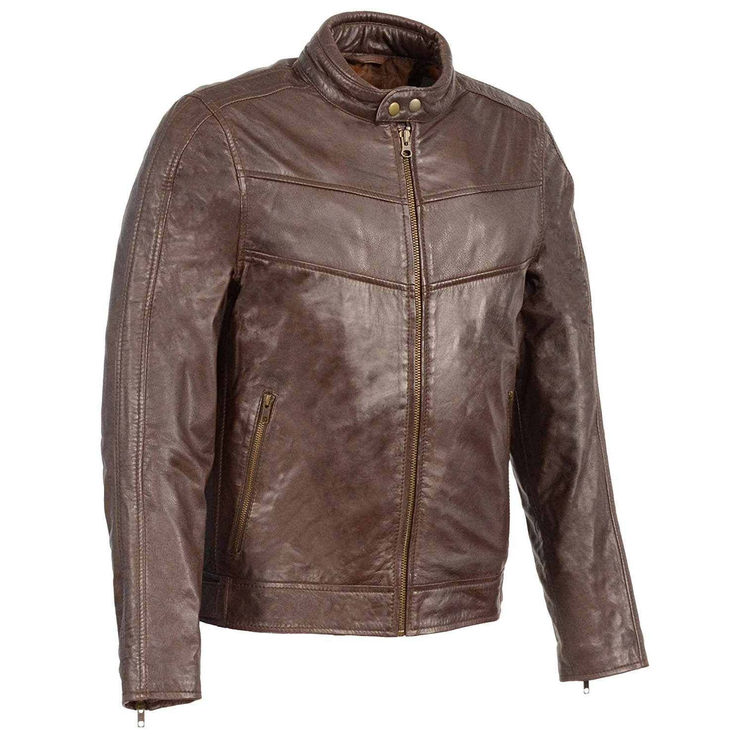 Milwaukee Leather Men's Stand Up Collar Leather Jacket (Broken Brown, X- Large), 1 Pack