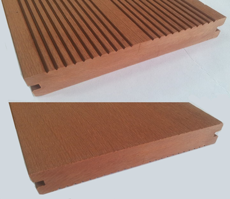 Teak color wood plastic composite decking plastic floor for Plastic composite decking