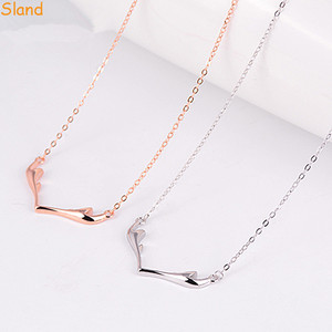 christmas item thin chain silver /rose gold tone S925 pure Antlers Charm Pendant Necklace jewlery for wholesale