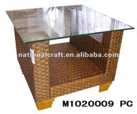 rattan with wooden frame tea table