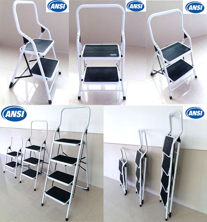 Folding Kitchen 4 Step Ladder With Handrail As Seen On Tv