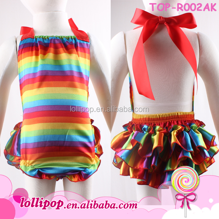 High quality summer 100% polyester baby rompers wholesale baby rainbow satin romper for christmas parties