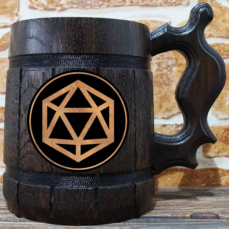 Twenty Sided Dice Beer Mug, Dungeons & Dragons Beer Stein, Gamer Gift, Personalized Beer Stein, DnD Tankard, Custom Gift for Men, Gift for Him