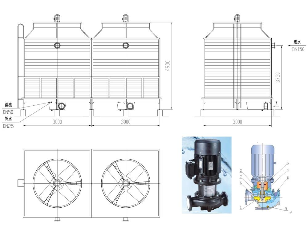 Auxiliary machine required water cooling tower For EPS plant
