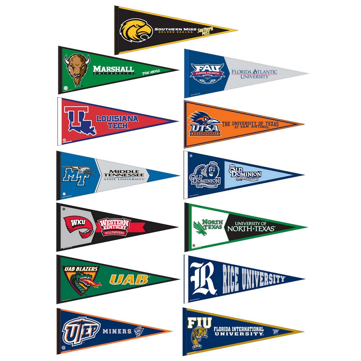 Conference USA College Pennant Set