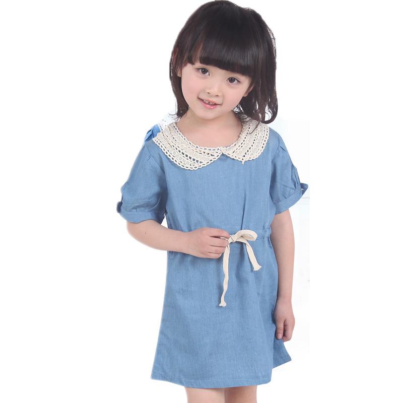 3f6a224028 Get Quotations · Kids Summer style jeans dress children clothes Korean girls  Pearl collar short sleeve denim dress 3