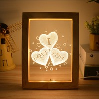 Love Heart Creative 3D LED Acrylic Photo Frame Table Lamp Light Warm Light USB Photo Frame Lamp Bedside Night Light