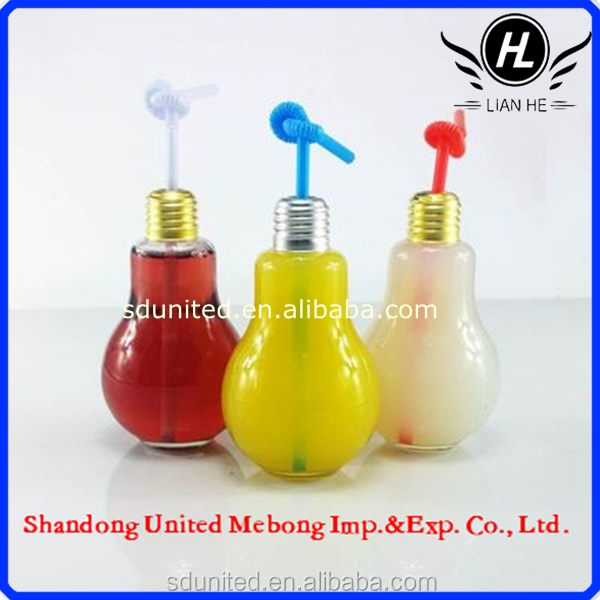 2015 New Design 100ml LED light bulb glass candy/beverage juice jars and bottles with lid