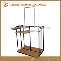top grade retail clothing display racks shop display combine wood and metal