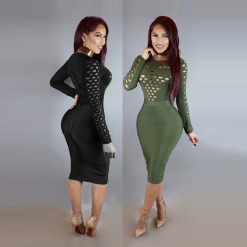 2017 speed sell new night dress, ladies' sexy, slim, long sleeved, buttocks bandage dress.