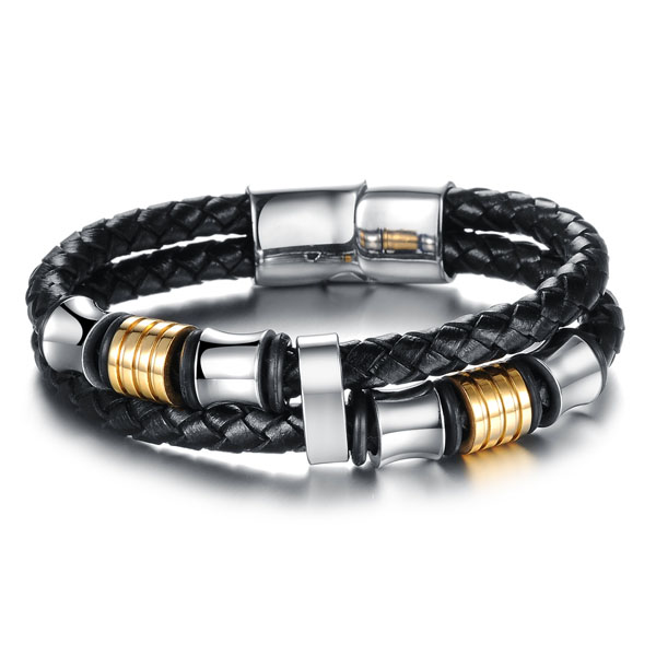 Stainless Steel Magnetic Plug Buckle Leather Braided Bracelet