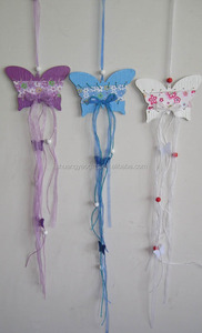 Easter Wooden butterfly Hanging ornaments with ribbon and beads Easter Wooden hanging decoration gifts