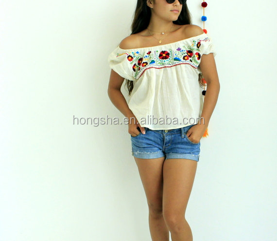Boho Clothing Ladies Mexican Off The Shoulder Embroidered Blouse