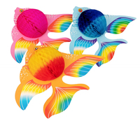 Tropical Fish Party Decorations Supplies Hanging Fish Paper honeycomb Balls