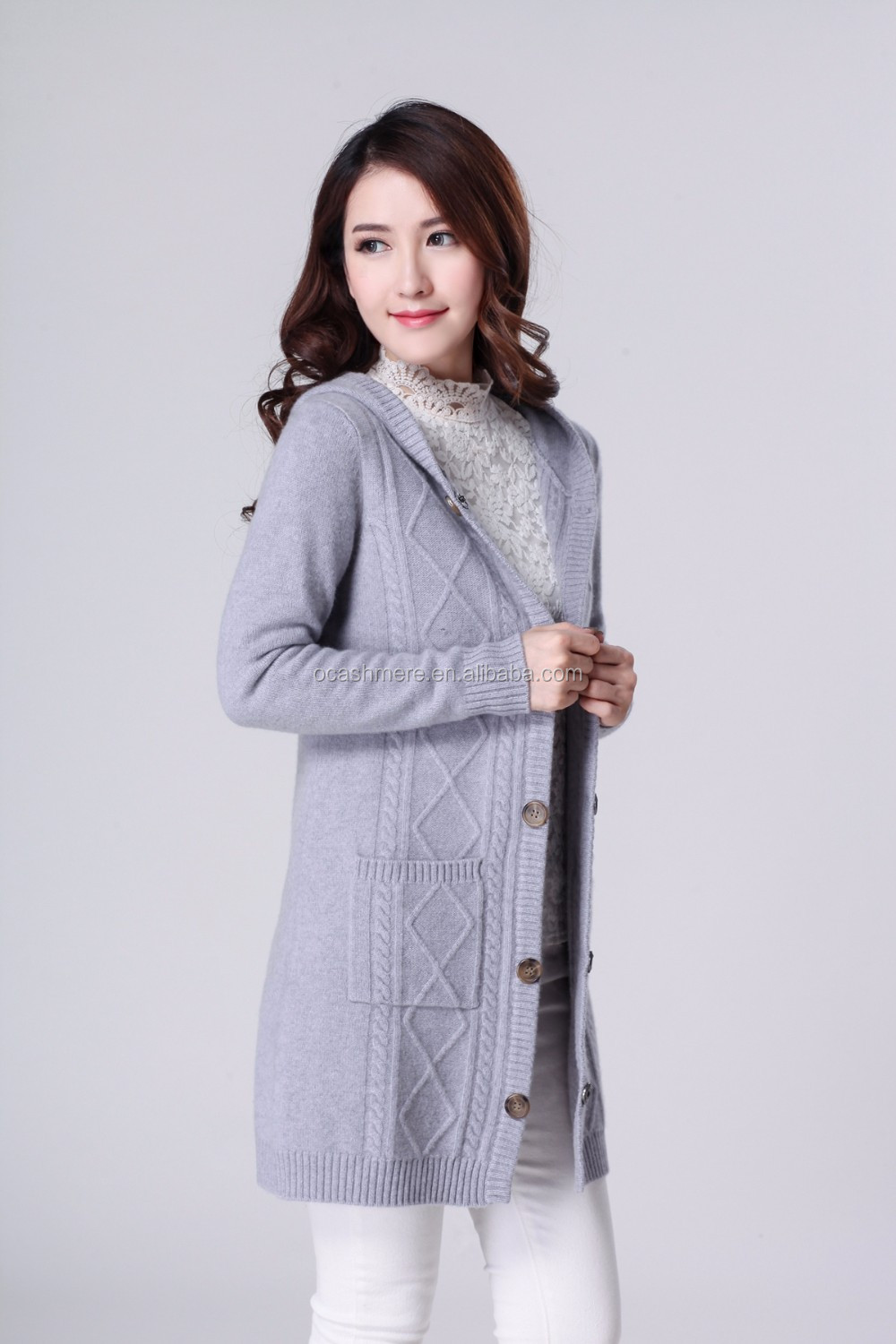 Inner Mongolia Ordos Raw Cashmere,Women's 100% Cashmere Hoodie Long Cardigan Sweater