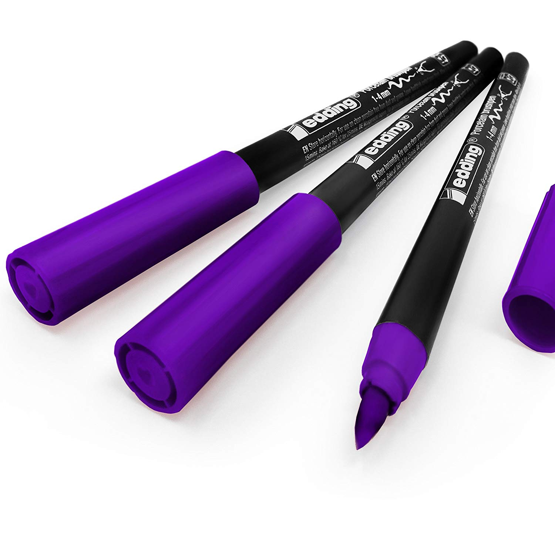 Edding 4200 Porcelain Brush Pen – 1-4mm – Pack of 3 - Violet #8