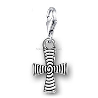 New Design Antique Silver Plated Christian Cross Engraved Swirl Pattern Charm Pendant