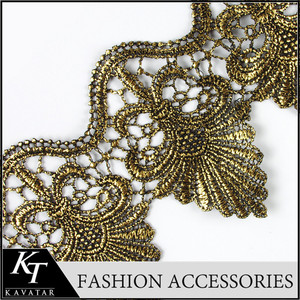 Women Dresses Golden Guipure Lace Embroidered Laces For Sarees Borders