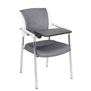 Modern bright color fabric ergonomic training study chair with writing pad and armrest