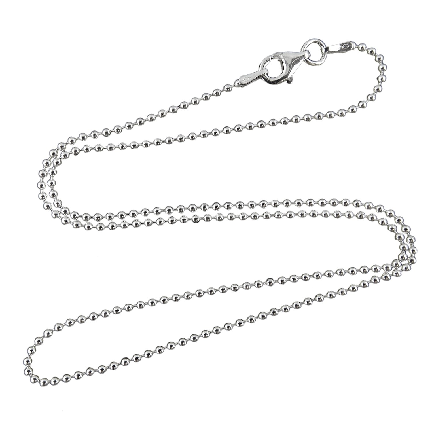 Sterling Silver Italian Ball Bead Chain 1mm 1.2mm 1.5mm 1.8mm 2.4mm 925 Italy New Dog Tag Necklace