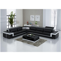 Modern Design Black Living Room Furniture L Shaped Leather Sofa Set