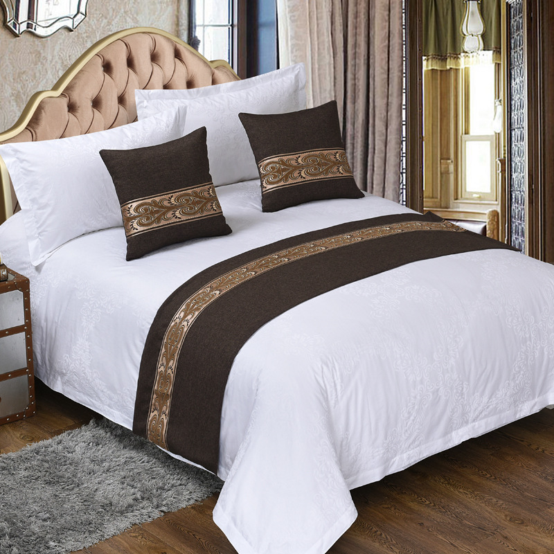 luxury jacquard fabric disposable decorative online shopping india hotel bed runner of queen size