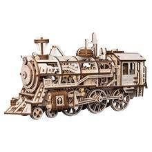 Robotime Locomotive mechanical gears steam educational toys 3d Puzzle For Adults