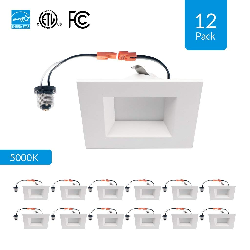 """12-Pack 4-inch Dimmable LED Square Downlights, 9W Retrofit (Replace 65W), CRI 90+ (High CRI), 5000K (Day Light), 4"""" Square Retrofit Design, 600 Lumens, cETLus, Energy Star & FCC approved"""