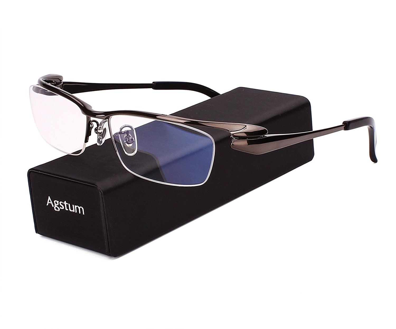 4e1b9bea11a ... Men Glasses Optical Eyeglass Frame eyewear Rx. Get Quotations · Agstum Pure  Titanium Half Rim Optical Business Glasses Frame Clear Lens
