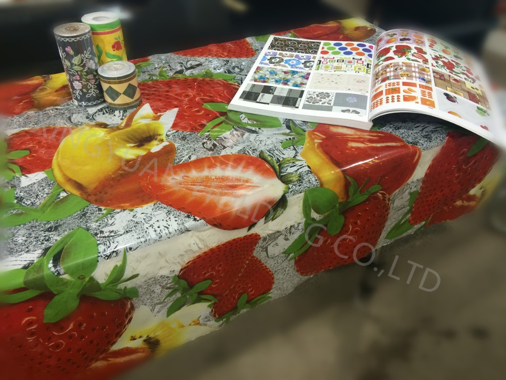 Fruit Design Plastic Clear Print Table Cloth PVC Transparent Printed Dinning Decorative Table Cover