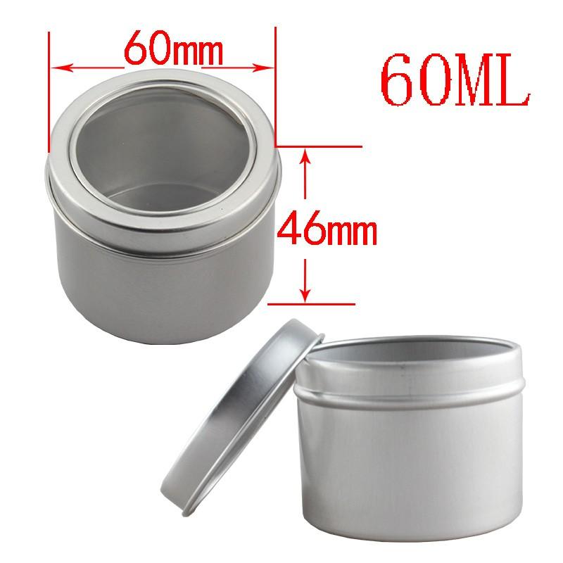 Aluminium kan met clear pvc deksel tin box Multifunctionele Container-Windowed Aluminium Kan-60 ml 60*46