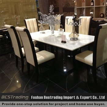 Modern Stainless Steel Base Leather Marble Dining Table Buy Marble - Marble top dining table with leather chairs