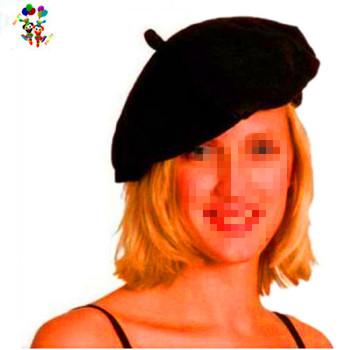 9b2eef3a184 Mime Fancy Dress Costume Party Black Felt French Beret Hats HPC-0265
