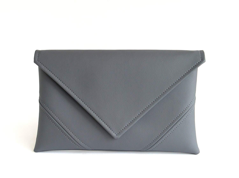 Grey Clutch Bag Gray Purse Handmade Vegan Leather Clutch Evening Clutch  Purse Vegan Bag Bridesmaid Clutch 8059dc80c18be
