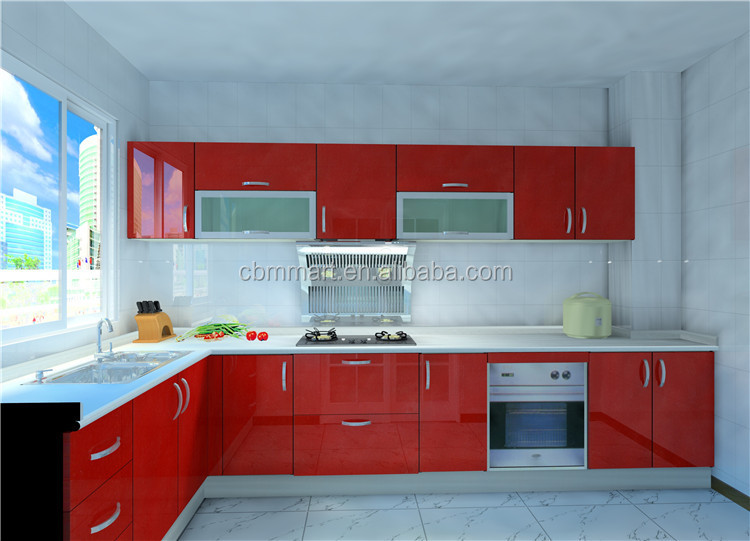 Red Color Kitchen Cabinets Design With Acrylic Finish