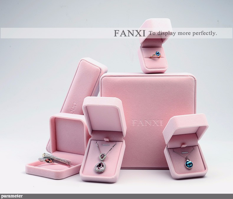 FANXI Popular Logo Printed Stock Jewelry Gift Box Earrings Ring Bracelet Necklace Insert Custom Soft Pink Velvet Box Packaging